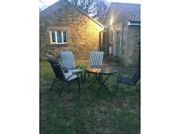 Garden Table and 4 Chairs Black