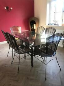 John Lewis designer bamboo and glass dining room table and chairs
