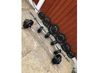 90kg CastIron Dumbbells Barbell Ez Bar Weights Set. •Can Deliver•