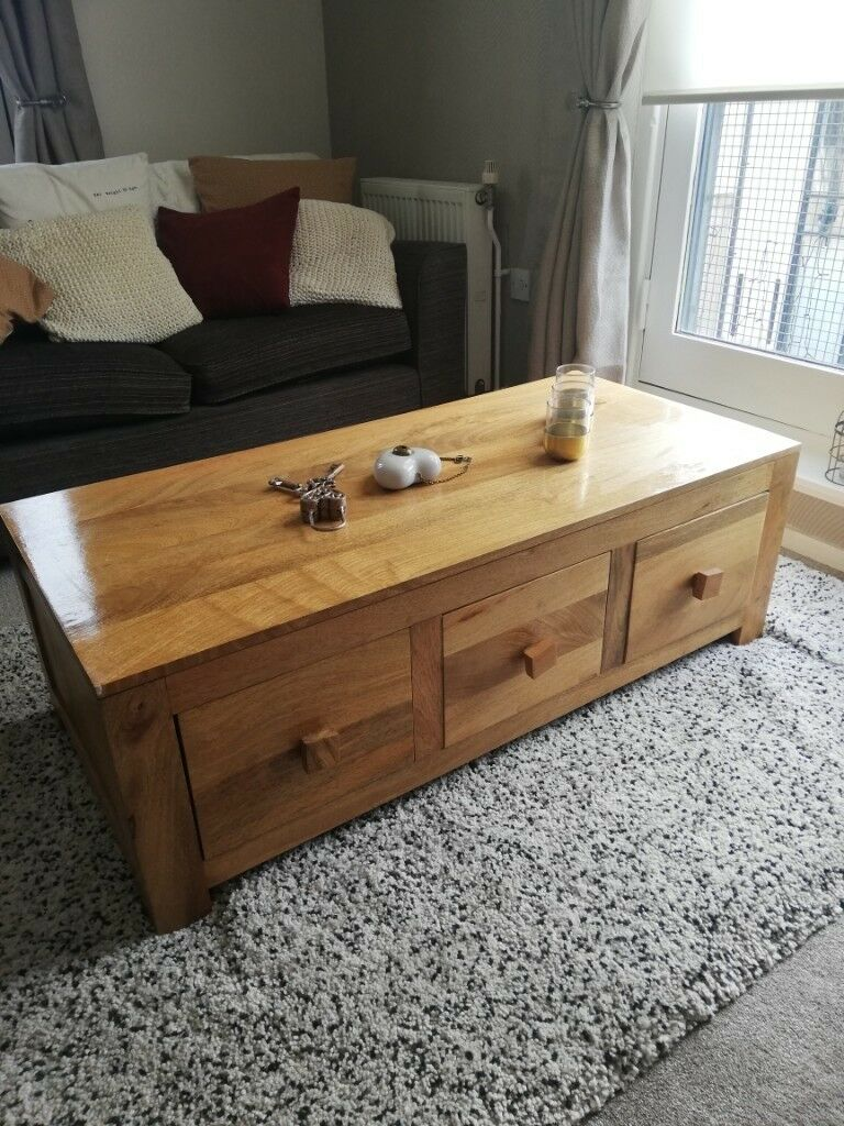 Quality Item Solid Wood Coffee Table With Storage In Edinburgh
