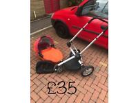 Quinny Buggy Chassis and Travel Cot