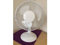 White oscillating desk fan