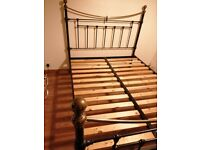 Victorian Brass black metal double bed frame and mattress on sale