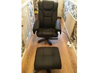 Malmo swivel recliner chair and stool x2