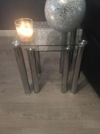 Hygena glassware nest of tables sleek and contemporary design also have the coffee table to match