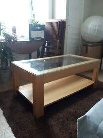 Ikea wood and glass top coffee table