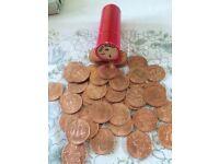 50 x halfpenny coins