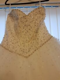 Ivory size 12 to 14 wedding dress and vail