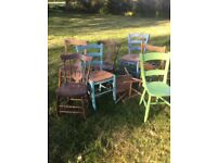 8 Wooden Chairs - some in need of TLC and wood glue.