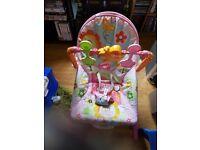 Pink girls bouncer chair