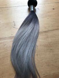 virgin brazilian human hair / grey -black straight