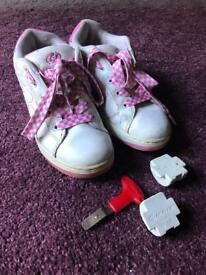 White and Pink Heelies UK Size 5