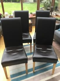 Next brown faux leather dining chairs