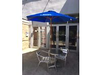 Bud Light Blue Wooden Parasol 2.5 meters x 1.5 metres with Concrete Base *New*
