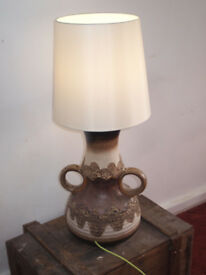 West German Vintage Retro 70s Lamp Slipware Fat Lava Very Large Floor Table Studio Pottery Lamp