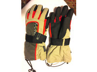 NEW Pair Thinsulate Beige & Black Lined Ski, Snow Gloves Size S/8, Velcro & Drawstring Closures