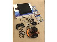 PS4 Slim like 500GB new in box with games, headset, controller