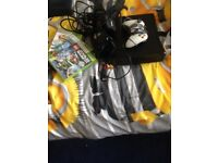 Xbox 360 all wires one controller with it.everthink comes with it , plus 3 games