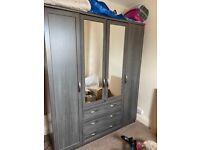 Camberley 4 Door 3 Drawer Very Grey oak mirrored wardrobe