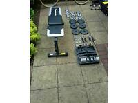 Great workout bench and dumbbell set for sale!