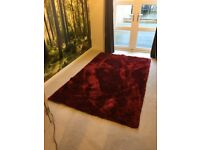 150 x 240cm Red Shaggy Rug - Very Good Condition - From Dunelm