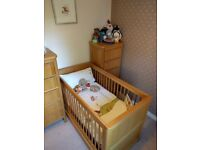 Marks & Spencer cot bed and matching chest of drawers/changing table