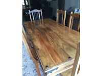 Jali Indian pine table and 6 chairs