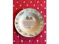 Enamel plate owl & pussycat mikkimugs England Royal academy arts .collectable