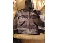 Quiksilver boys grey check hooded jacket age 12