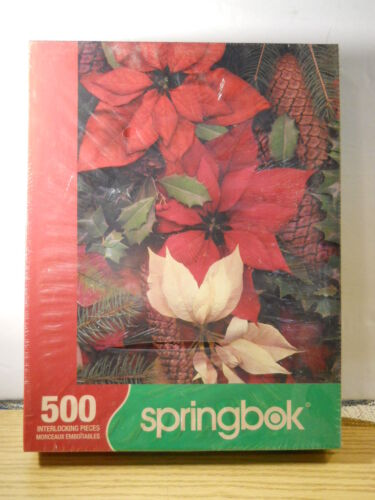2005 Factory Sealed Springbok Poinsettia Pine Cones 500 Puzzle Rubin Art Studio