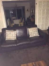 Leather 3 seater and chair