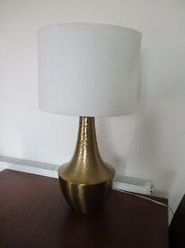 Large table lamp / gold hammered metal base