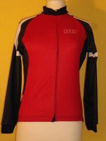 Ladies Moozes Long Sleeved Cycling Jacket. Red, Black & White – Size XL = UK 16