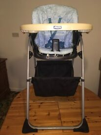 Chico high chair blue and white