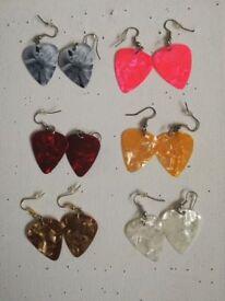guitar pick earrings (6 pairs)