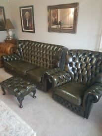 Chesterfield monks sofa, chair & footstool