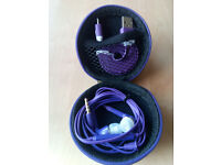 Hard Storage Case With Headset & Micro USB Cable Purple