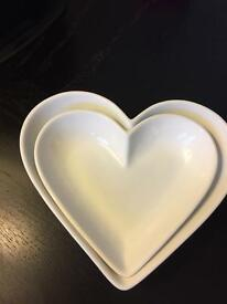 Marks and spencer heart shaped serving dishes X2 valentines