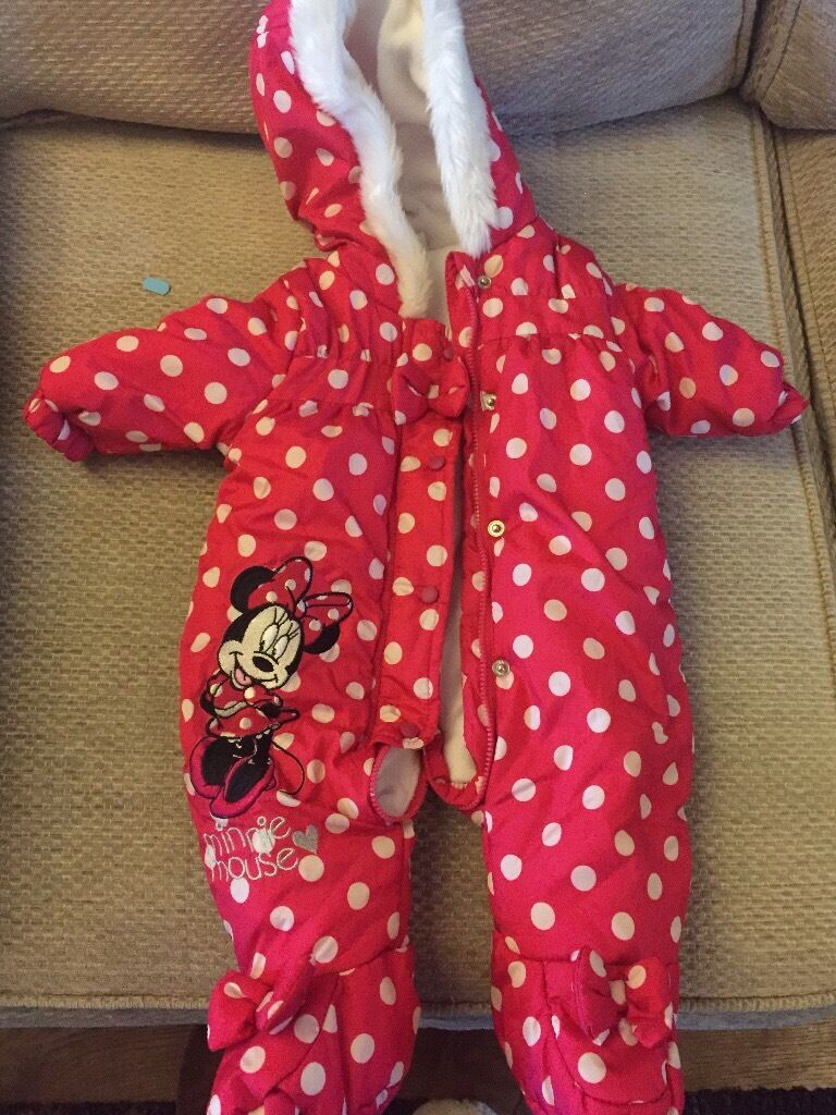 Girls 0-3 months Minnie Mouse snow suit