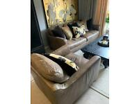 Barker and stonehouse 3 seater leather sofa and chair