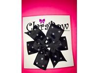ClaraBow Black Bow with Diamanté Detailing