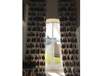 Stunning 5m, double width lined curtains in cream with black flowers - Excellent condition