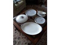 1958 Doulton frost pine china set dinner plates, side plates, platter, tureen, gravy boat