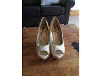 Cream satin heels - size 6