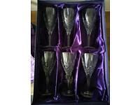 Set of six Edinburgh Crystal wine glasses