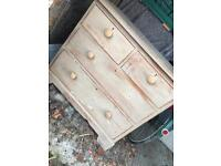 Rustic solid wooden large 4 drawer unit