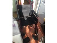 Wheelchair in good condition with safety strap. Easily folds for travelling. £65. 07973 383277