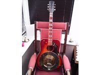OLD HUMMINGBIRD ACOUSTIC GUITAR WITH SOLID BRASS RESONATOR