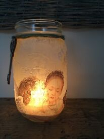 Unusual mother's day gift Vintage Fairy Mason Jars for use with tea light battery candle