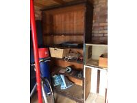 Wooden shelf and storage boxes